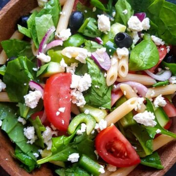 greek salad with penne.