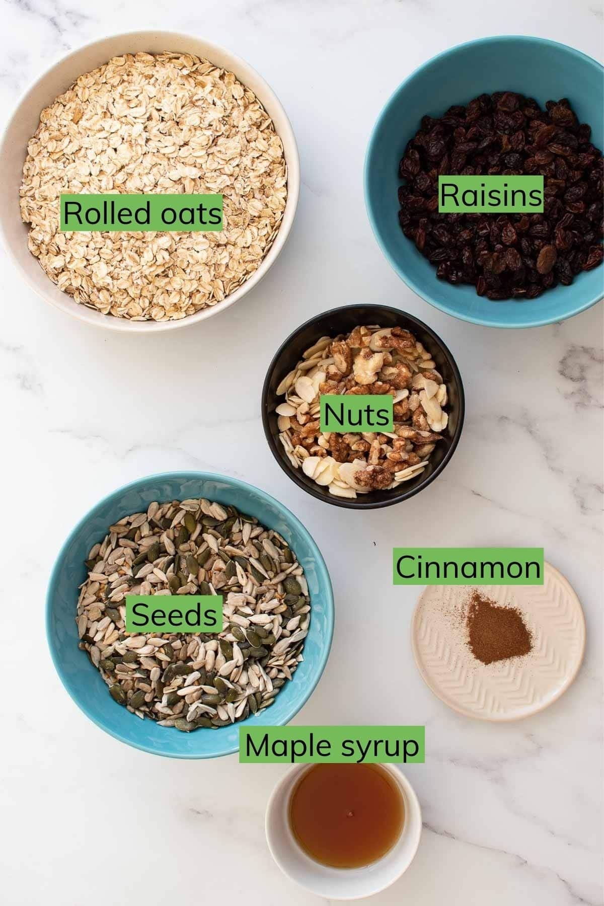 The ingredients for Toasted Muesli laid out on a table.