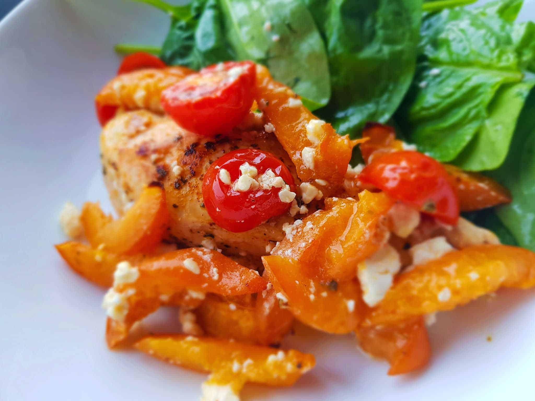 Mediterranean apricot chicken bake