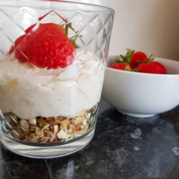 Strawberry banana cream cheese parfait with nuts