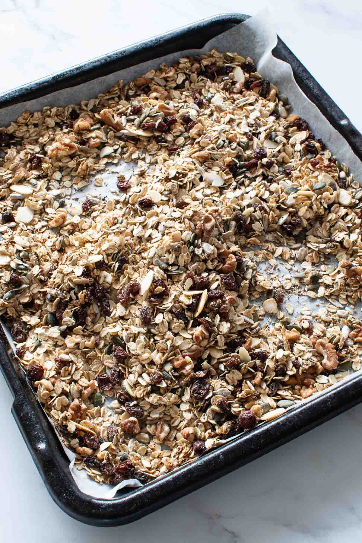 Baked muesli on a baking sheet.
