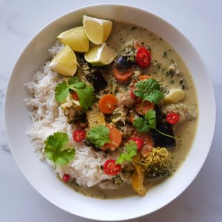 green curry with rice.