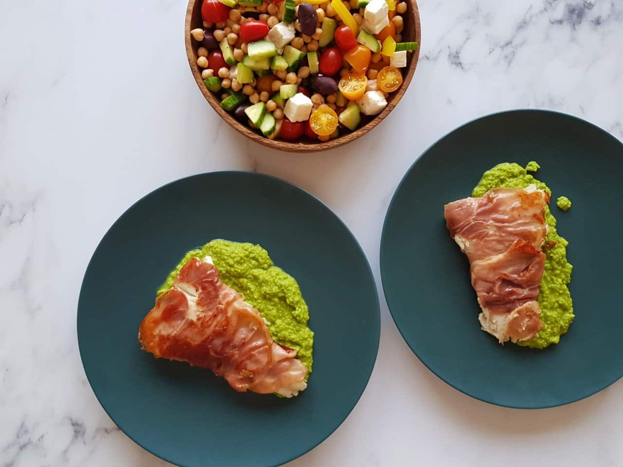Cod wrapped in prosciutto with peas