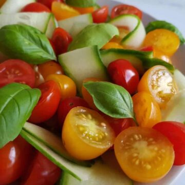 Close up of tomato and cucumber salad.