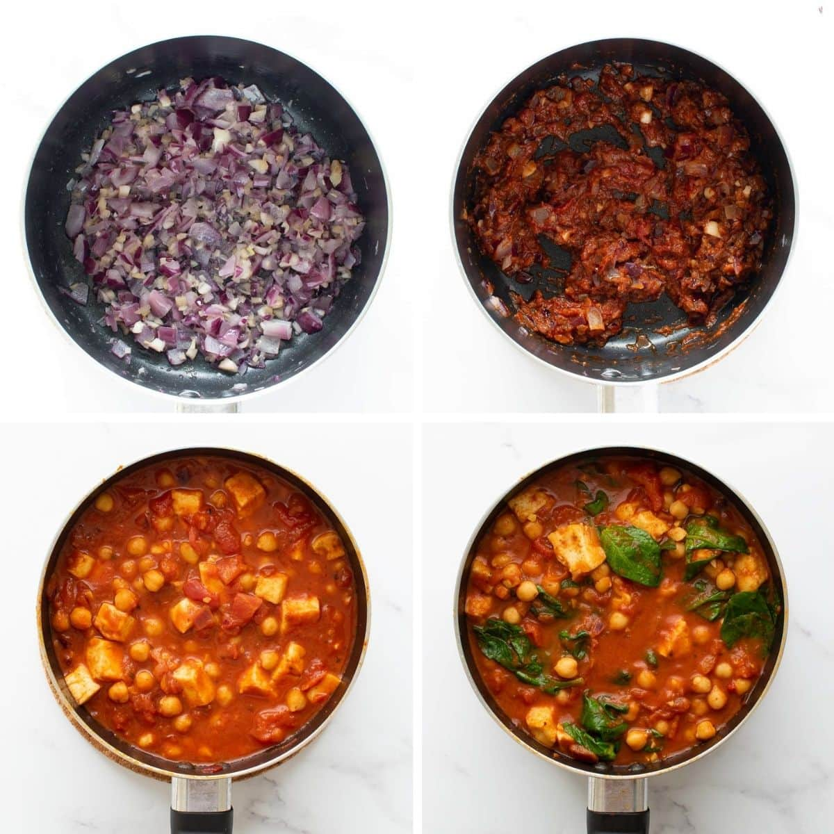 Step by step images showing how to make Chickpea and Halloumi Curry.