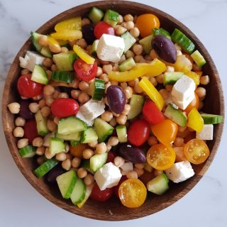 Salad with chickpeas, feta and vegetables.