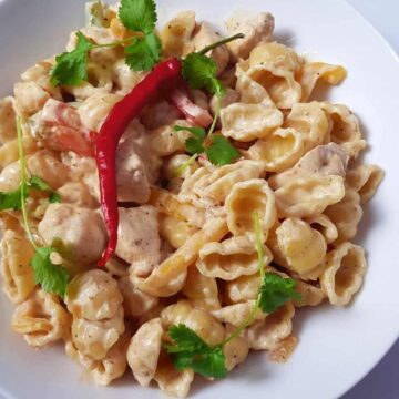 A bowl of creamy fajita pasta, decorated with chili and coriander.