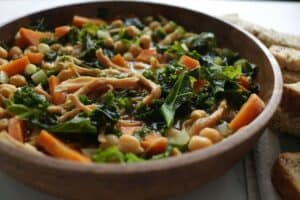 kale and chickpea soup with ham