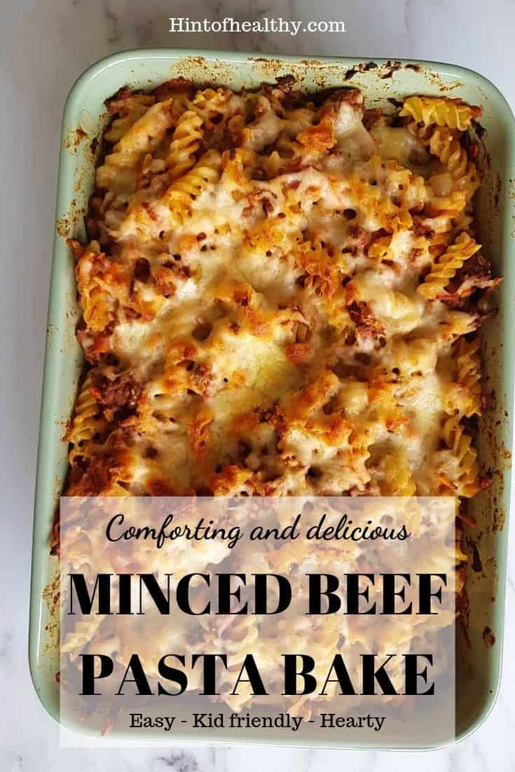Minced beef pasta bake Pinterest icon.