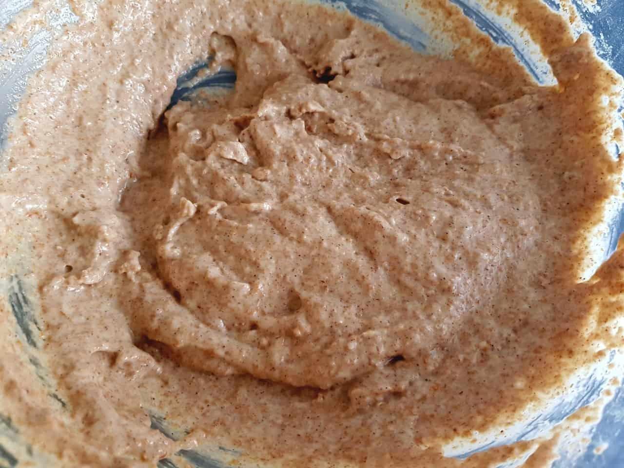 Mixing bowl with pancake batter.