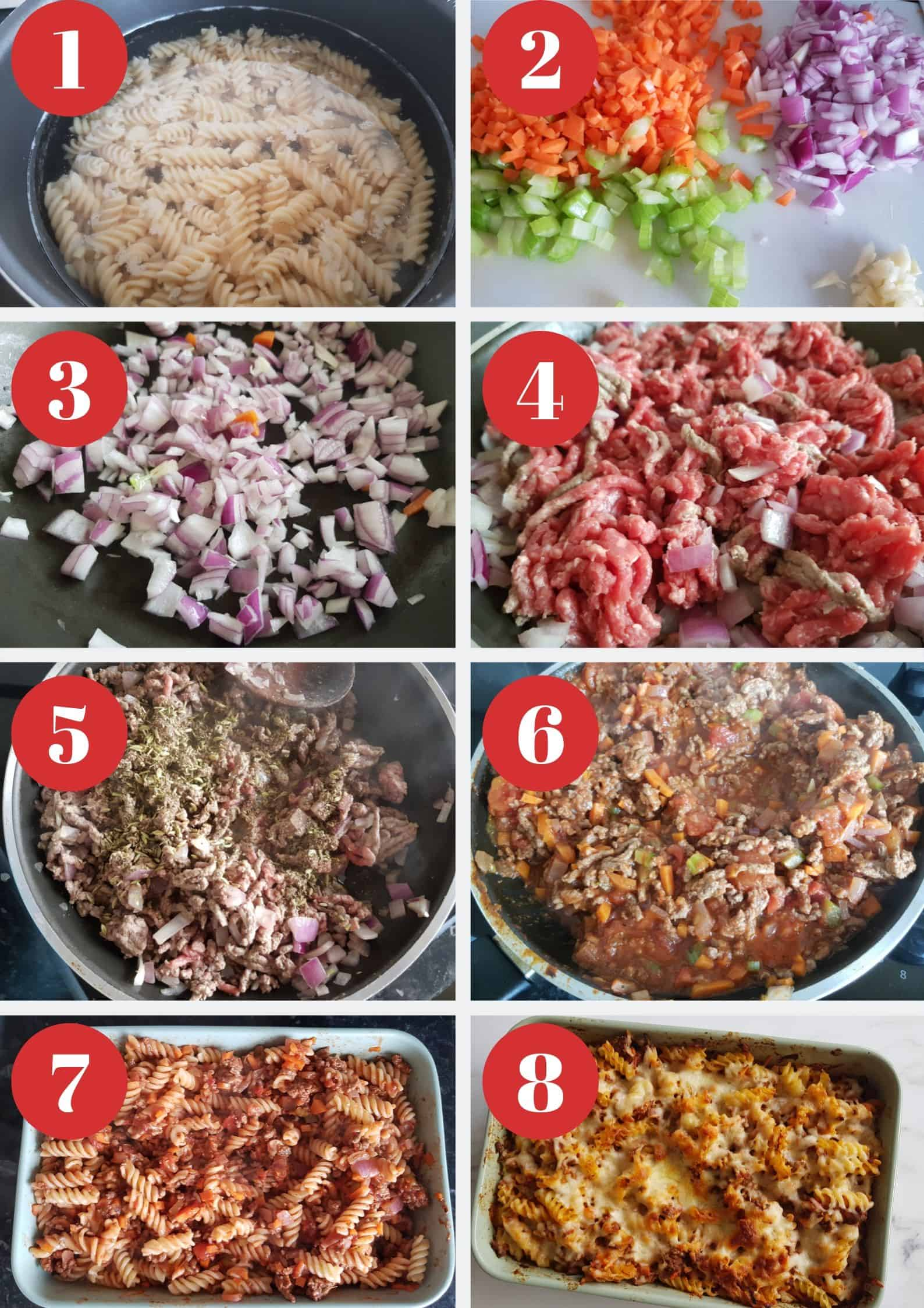 Infographic showing step by step how to make the pasta bake.