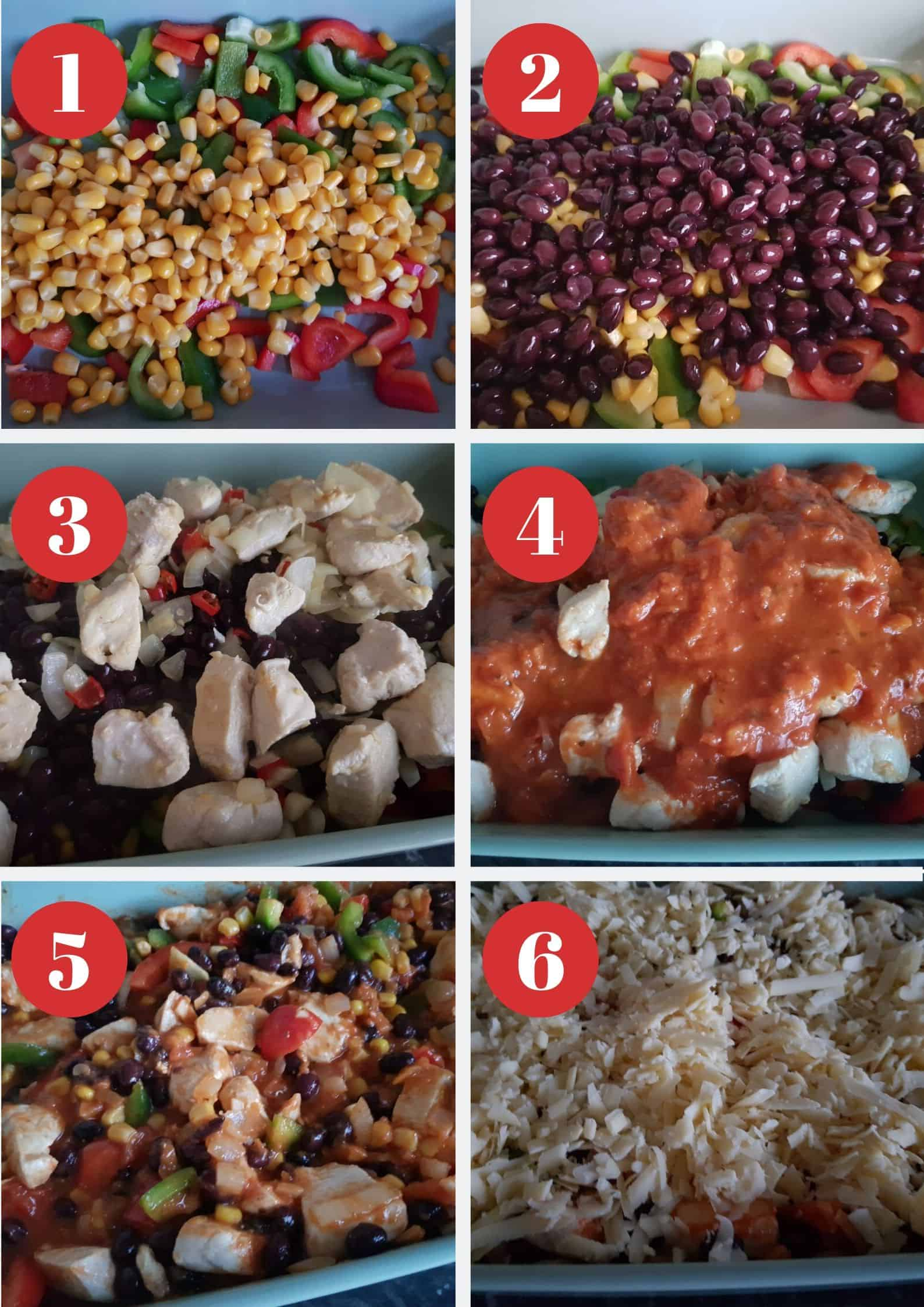 Step by step picture guide on how to make a Mexican chicken casserole.