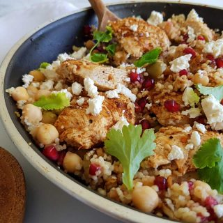 skillet with chicken,feta and couscous.