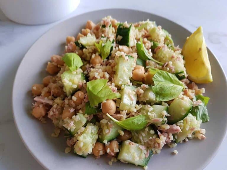 Tuna bulgur salad with chickpeas on a plate.