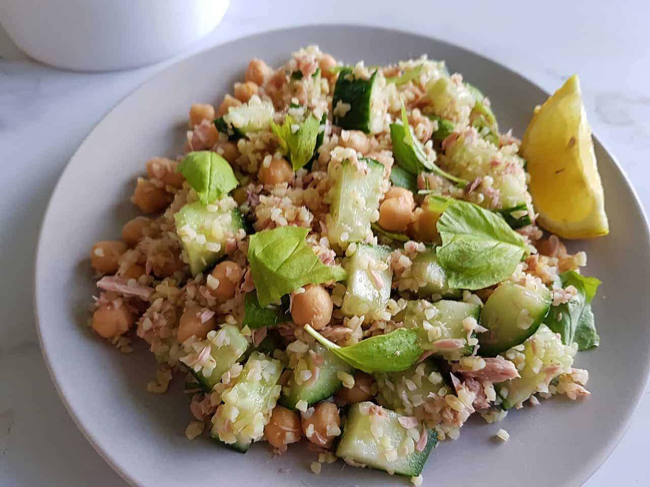 Tuna bulgur salad with chickpeas on a plate.