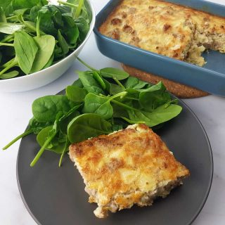 casserole with egg and sausage.