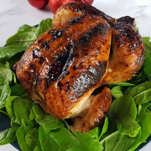 Honey glazed roast chicken on a bed of spinach.
