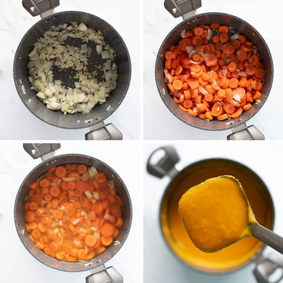 Step by step images showing how to make carrot ginger soup.