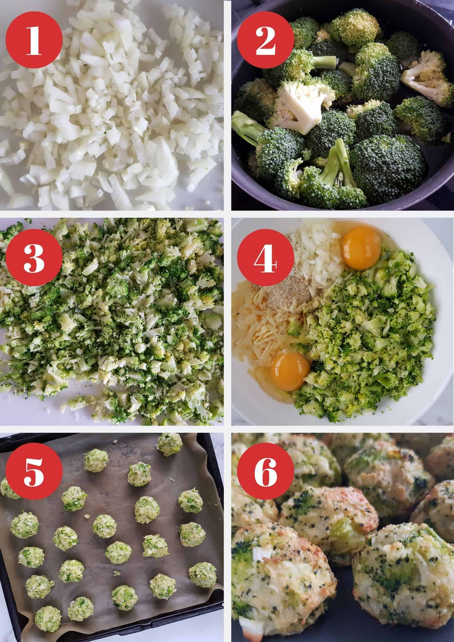 Infographic showing step by step how to make broccoli and cheese balls.