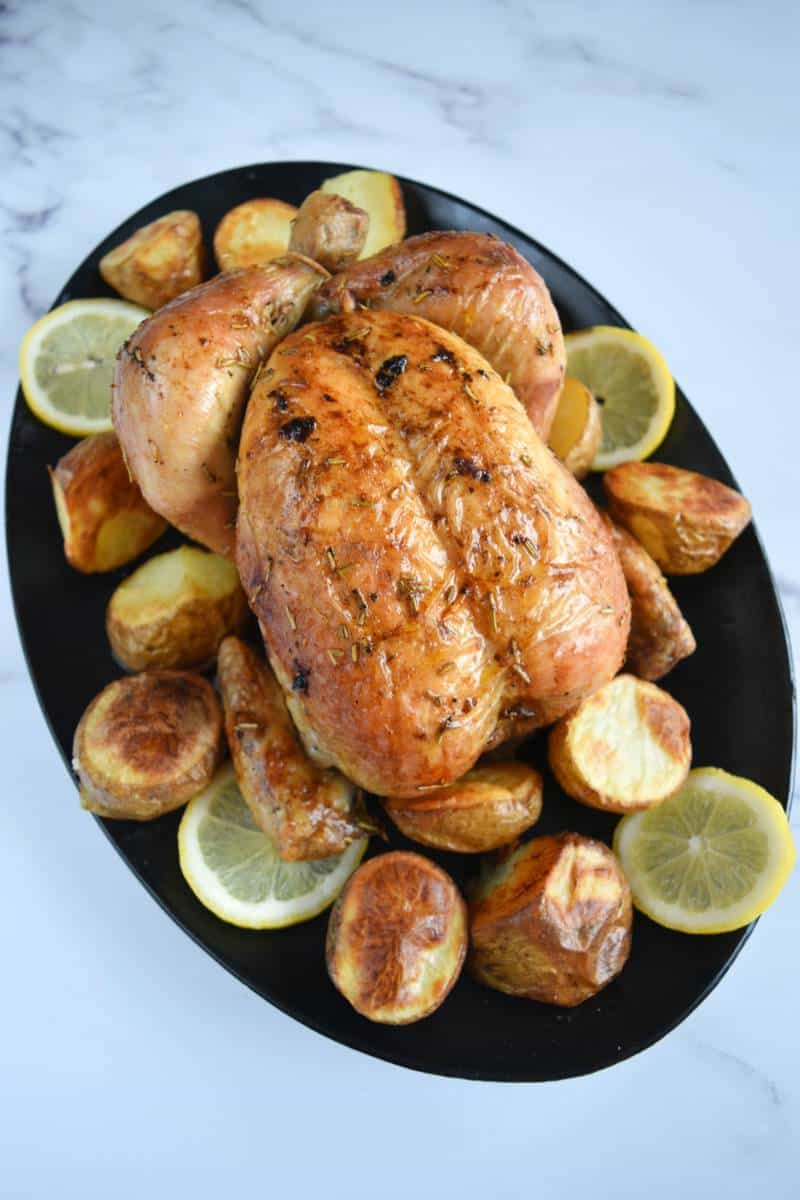 Roasted chicken with rosemary and lemon.