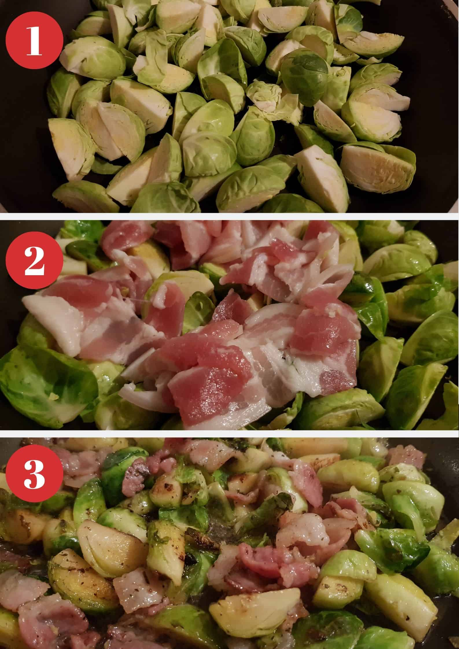 Infographic showing how to make brussels sprouts with bacon