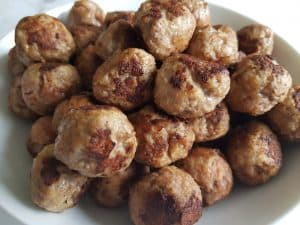 cooked meatballs with pork and beef.