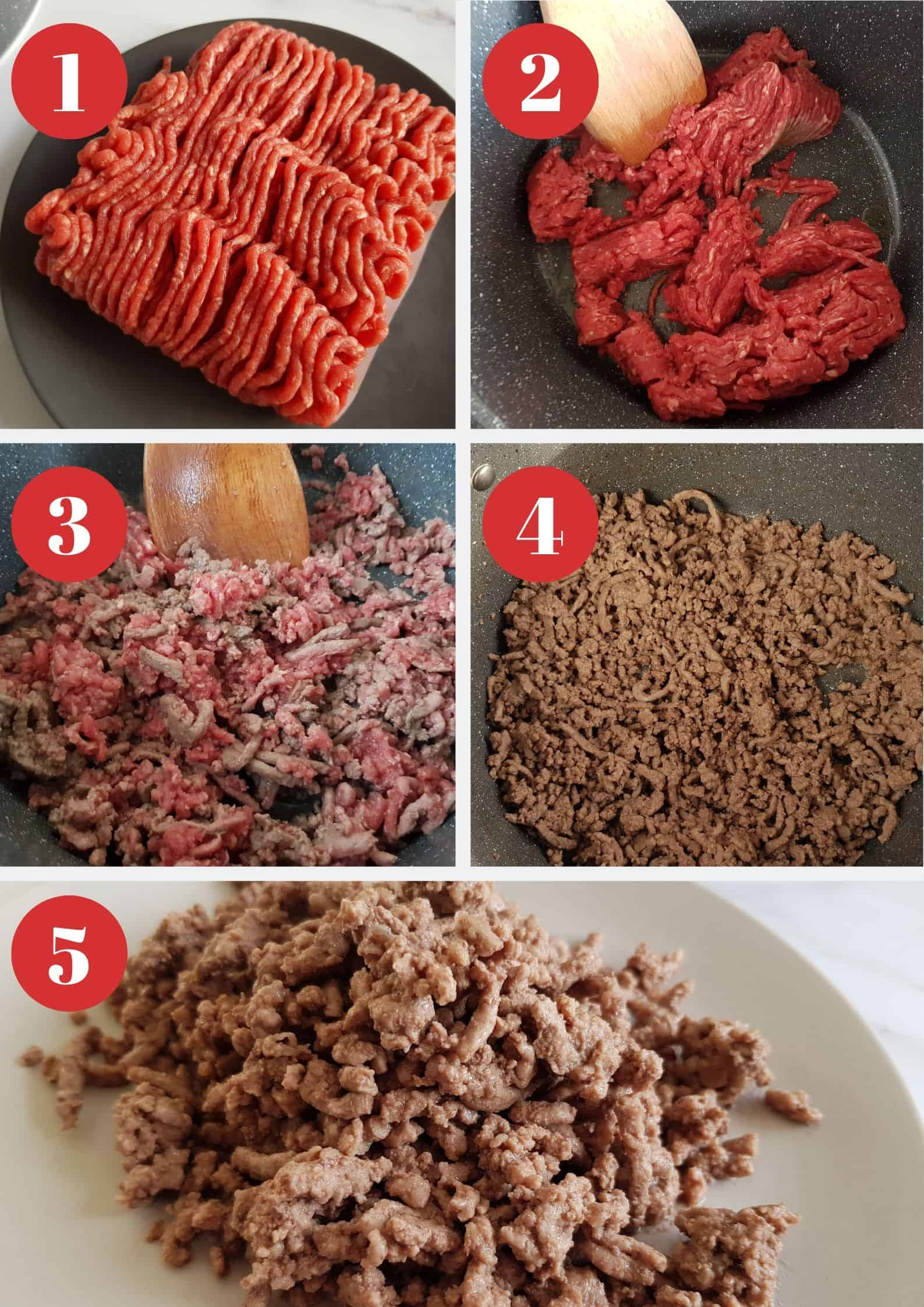 Infographic showing how to brown mince