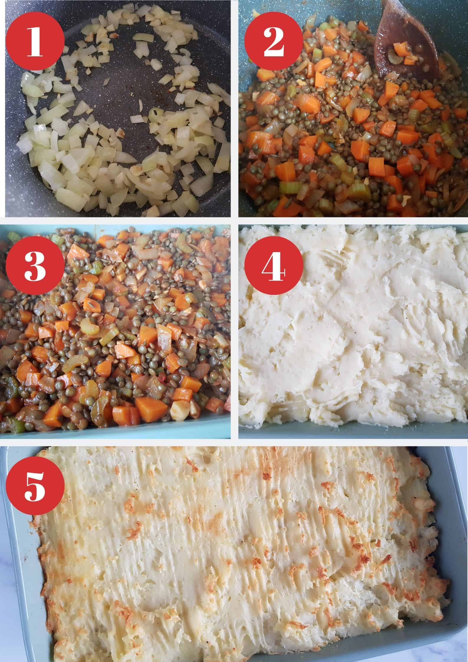 Infographic showing How to make cottage pie with lentils.