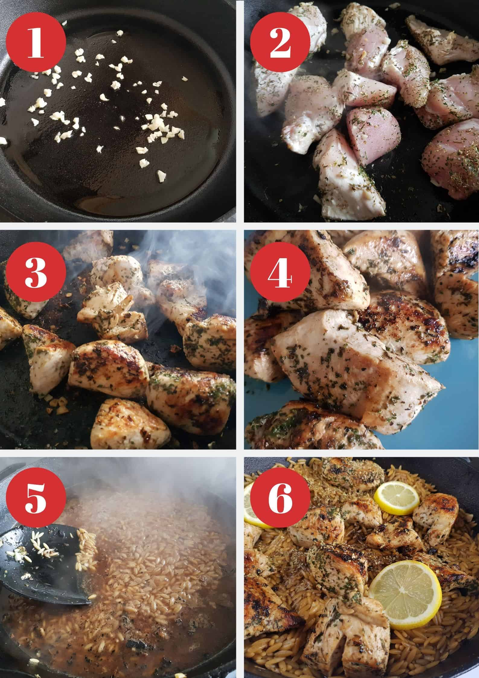 Infographic showing How to make lemon chicken with orzo.