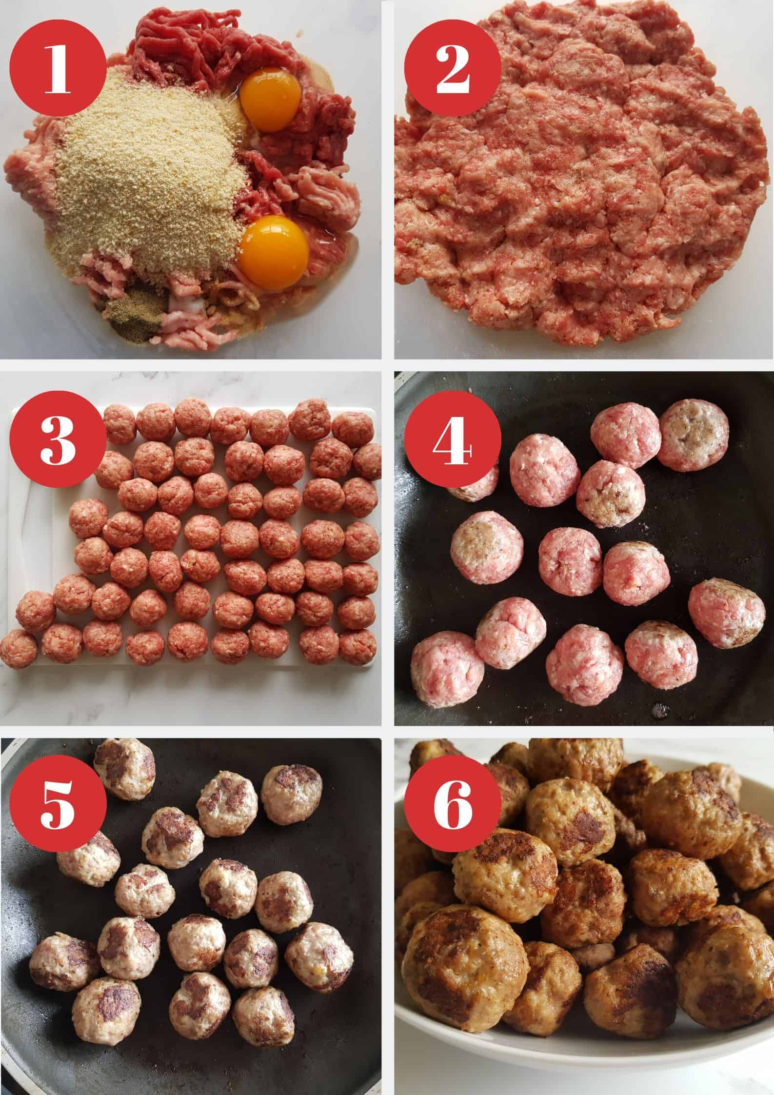Infographic showing how to make meatballs.