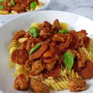 sausage and chorizo pasta.