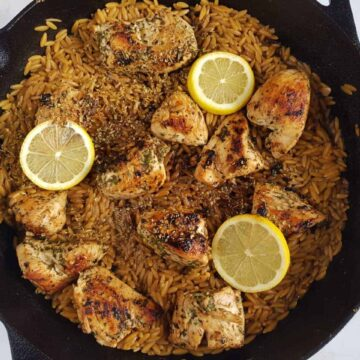 close up of orzo and chicken skillet.