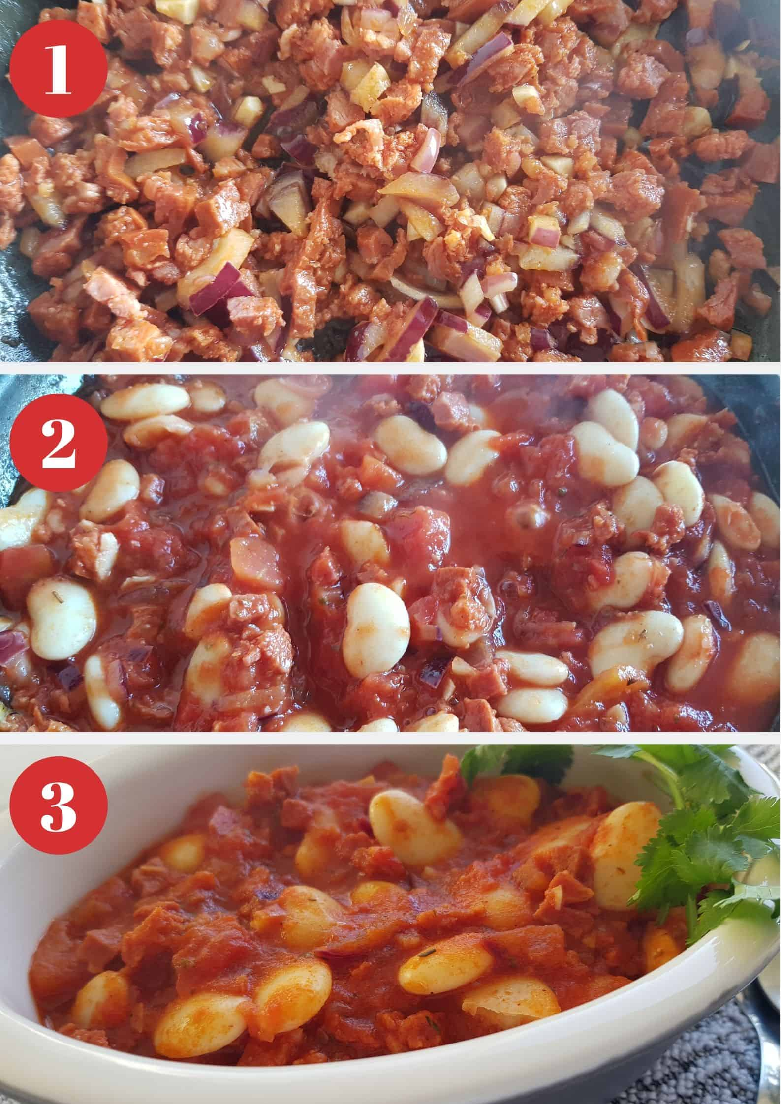 Infographic showing how to make butter bean and chorizo stew.