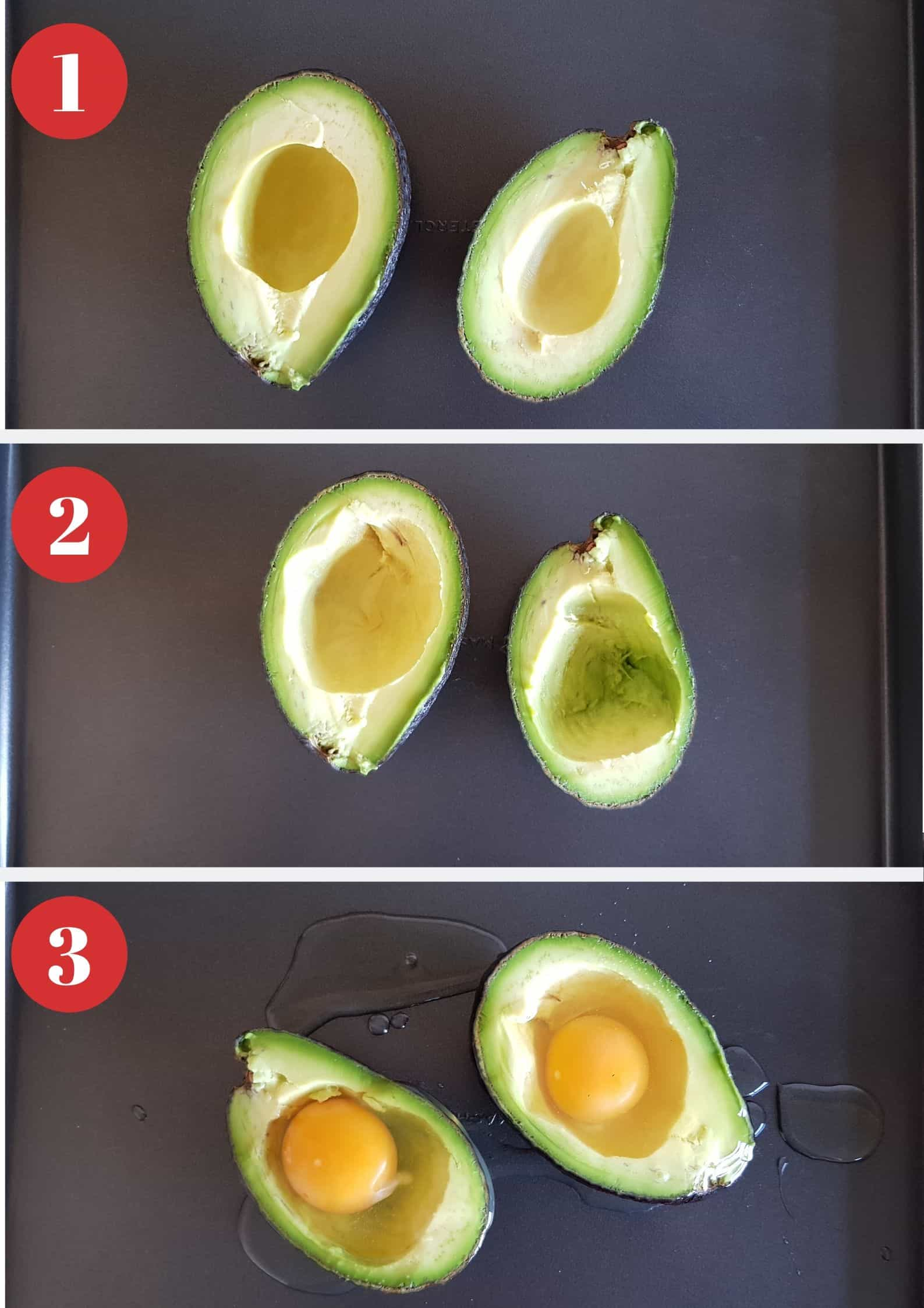 Infographic showing how to make egg in avocado.