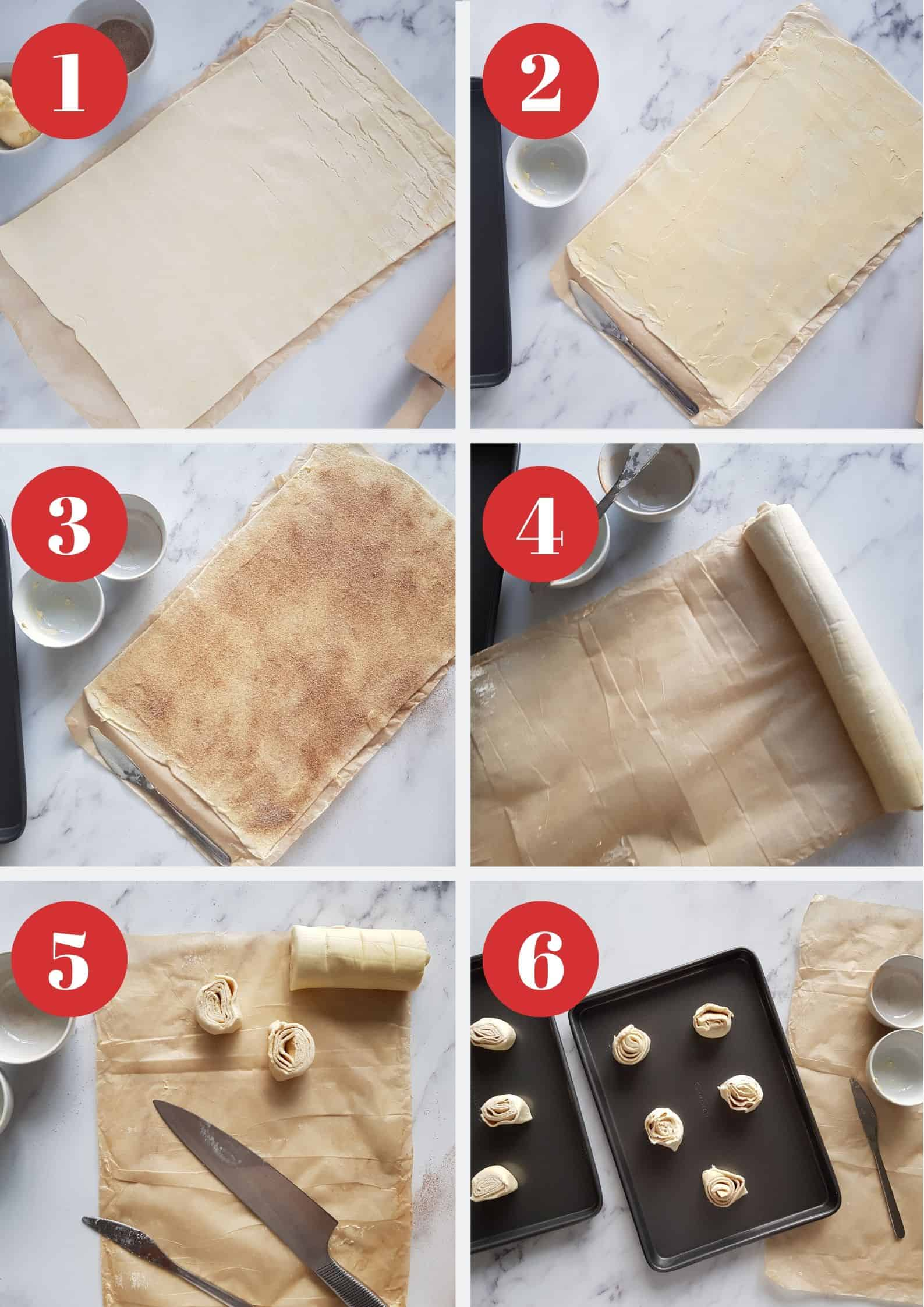 Infographic showing how to make puff pastry cinnamon rolls.
