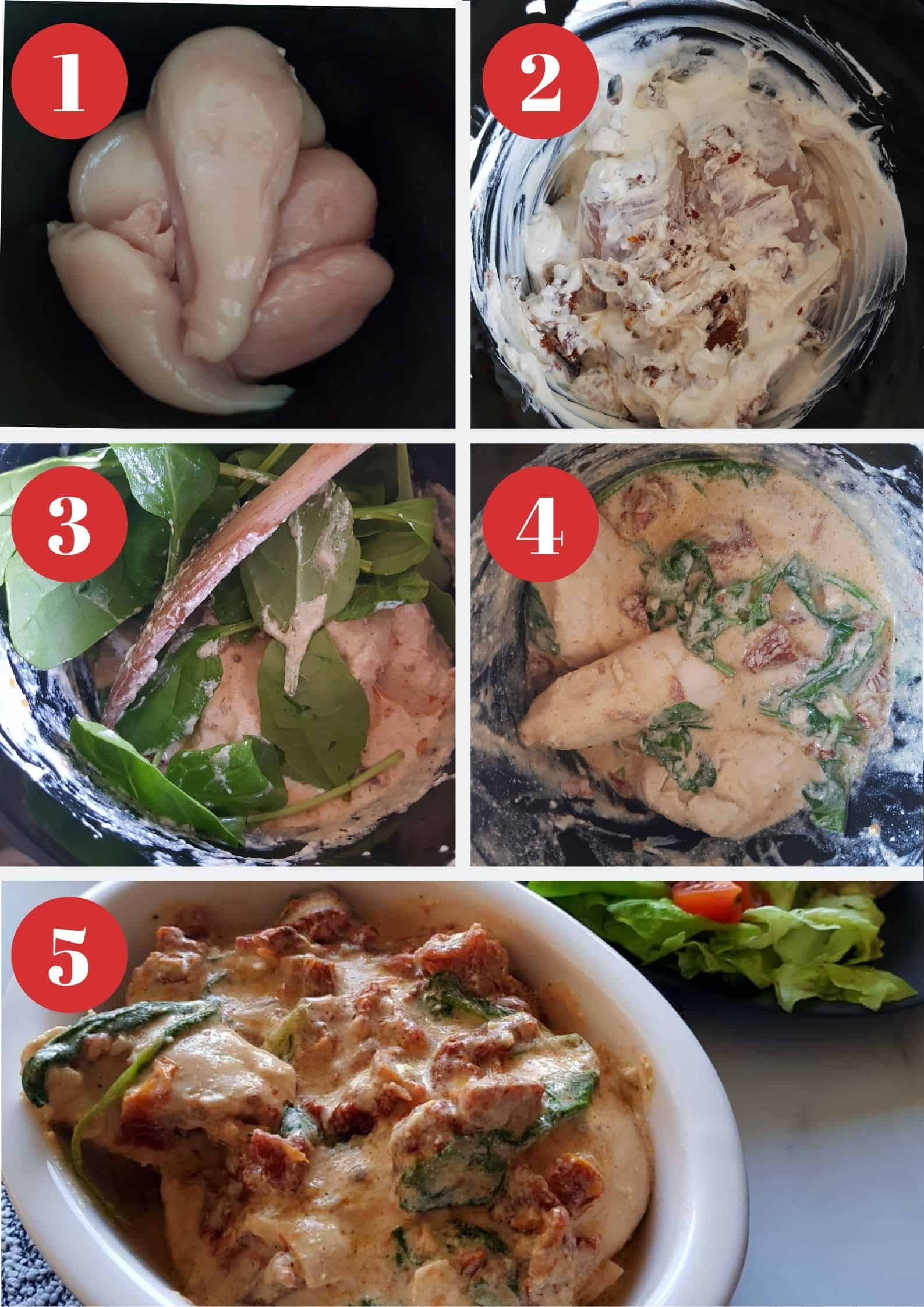 Infographic showing how to make slow cooker tuscan chicken.