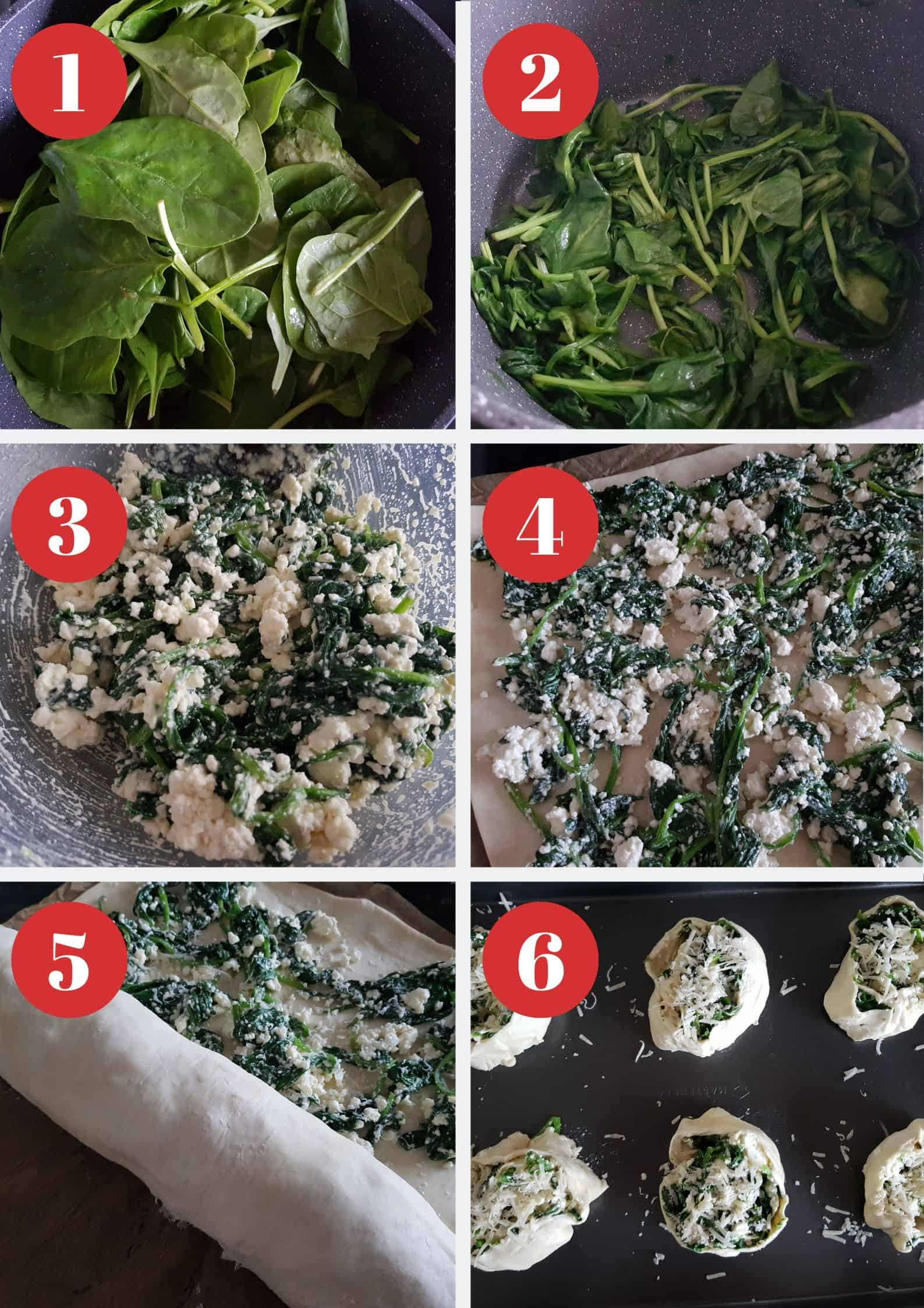 Infographic showing how to make spinach and feta puff pastry pinwheels.