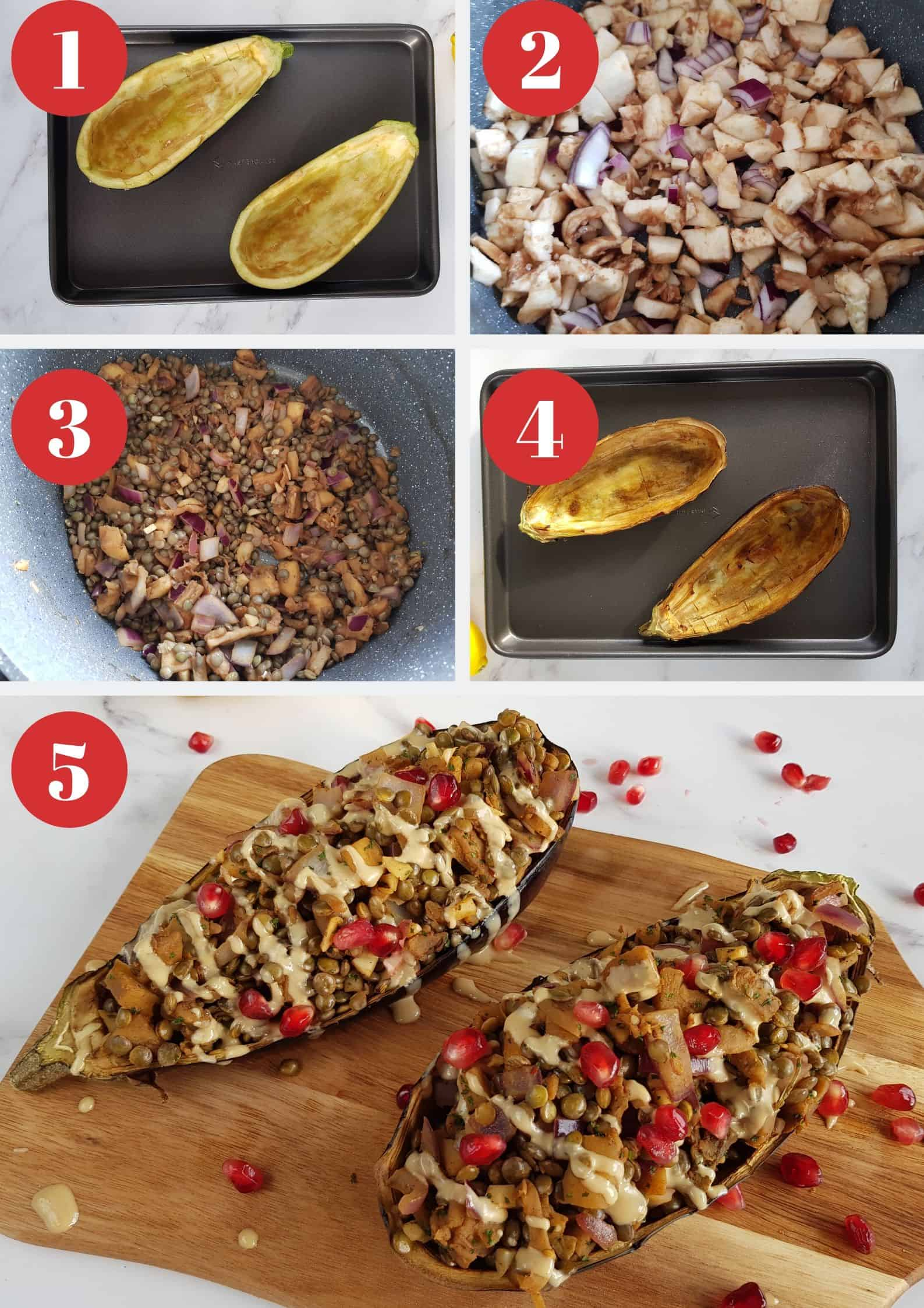 Infographic showing how to make stuffed aubergine.