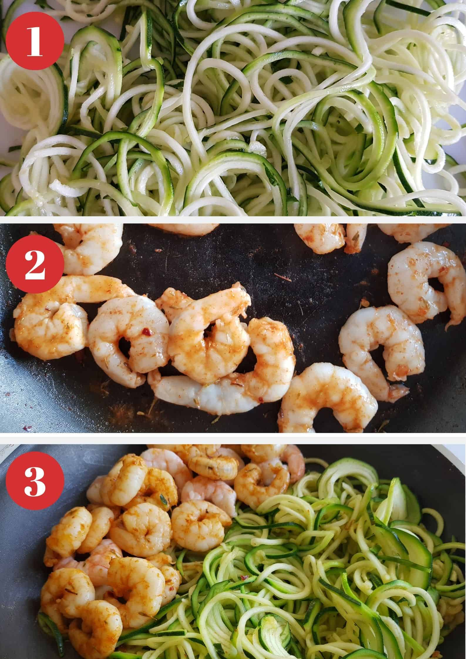 Infographic showing how to make zucchini noodles with shrimp.