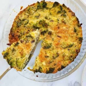 quiche with broccoli and cheese.