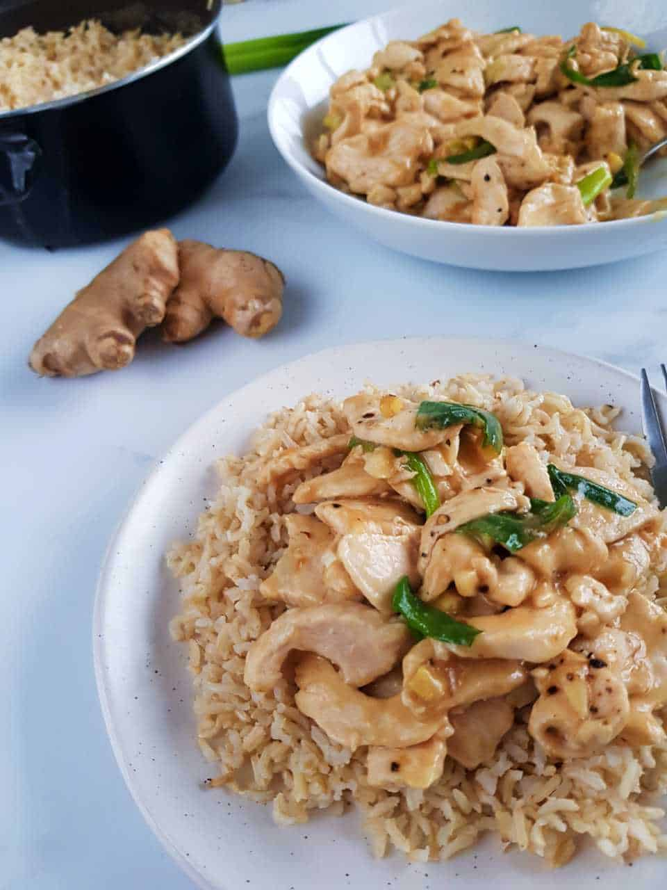 Ginger and spring onion chicken in a bowl over rice.