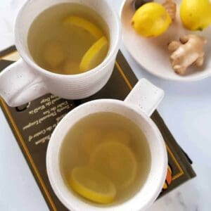 hot tea with lemon and ginger.