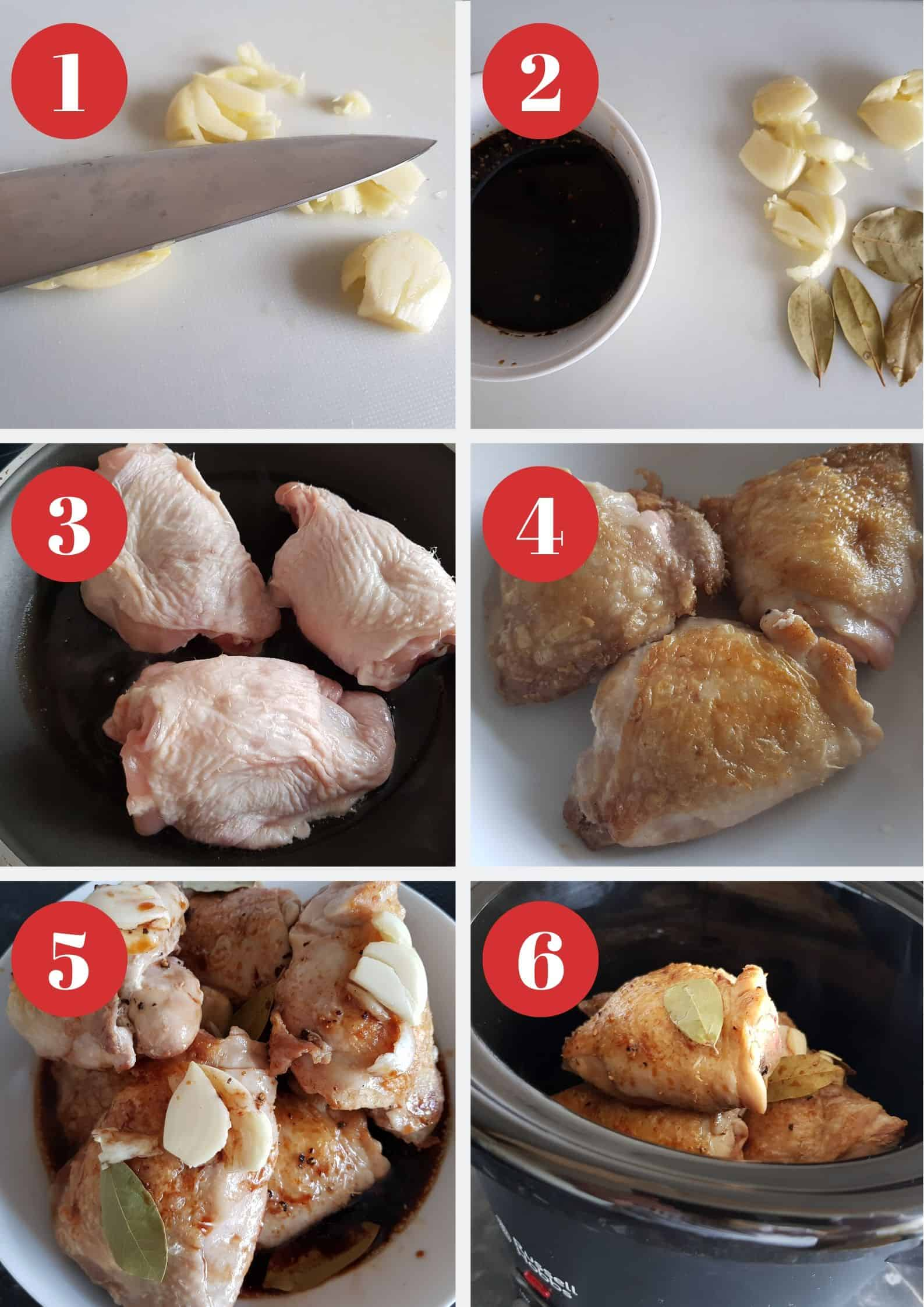 Infographics showing how to make chicken adobo.