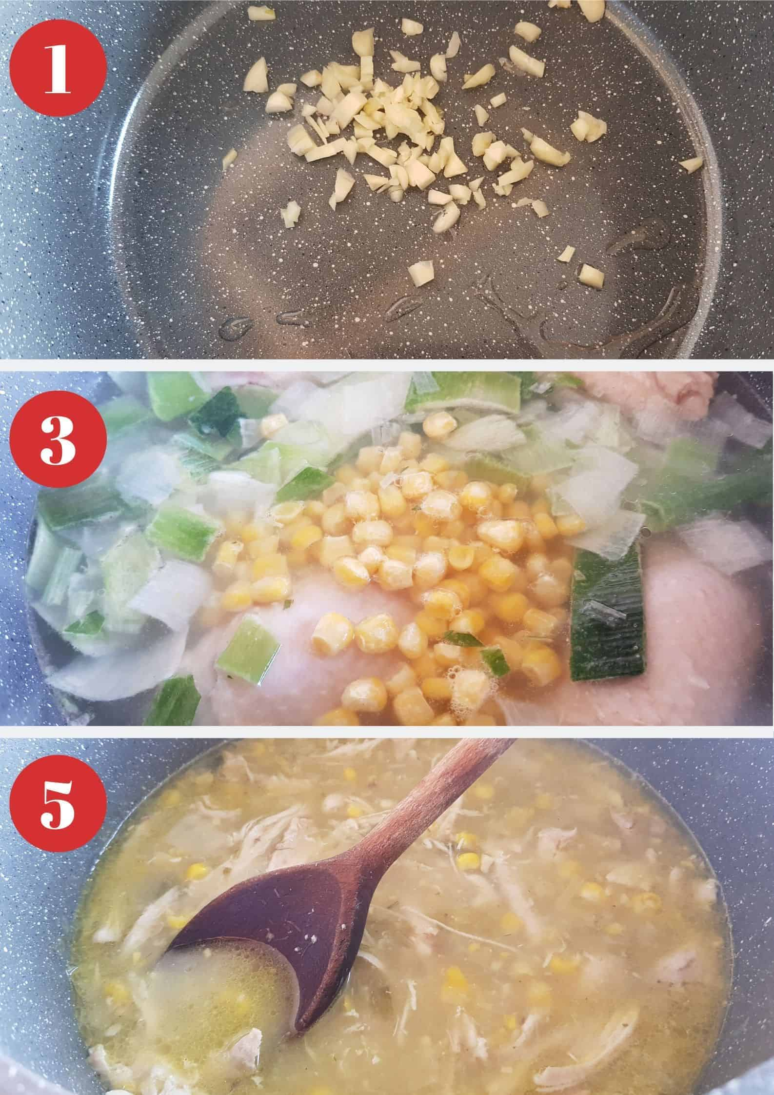 Infographic showing How to make chicken and sweetcorn soup.