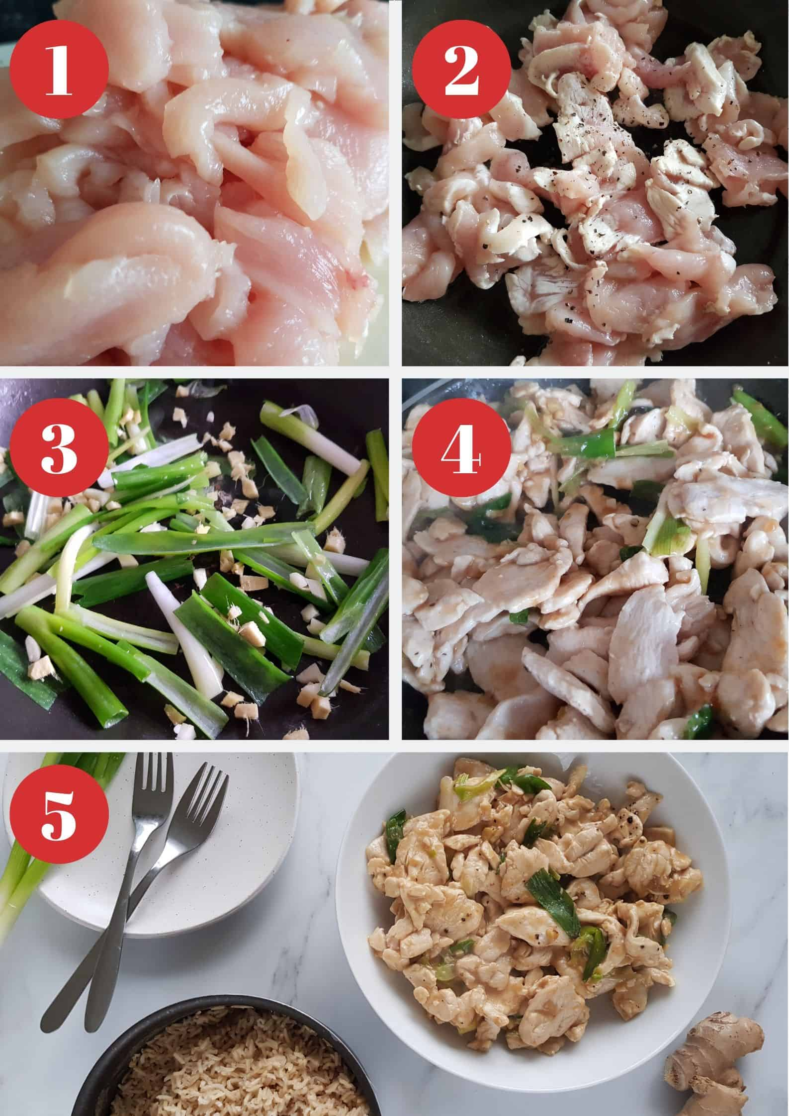 Infographic showing how to make ginger and spring onion chicken.