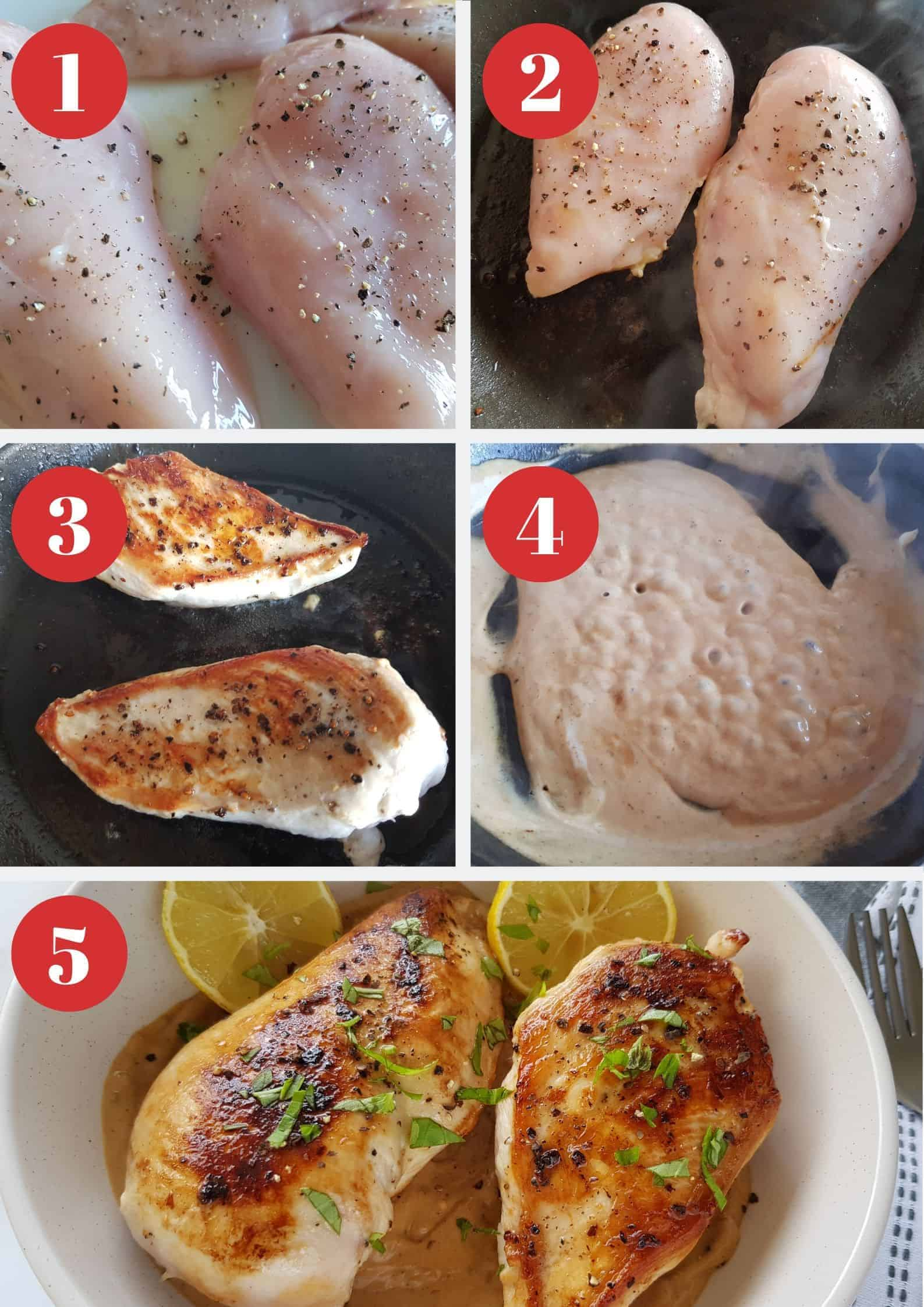 Infographic showing How to make lemon pepper chicken breast.