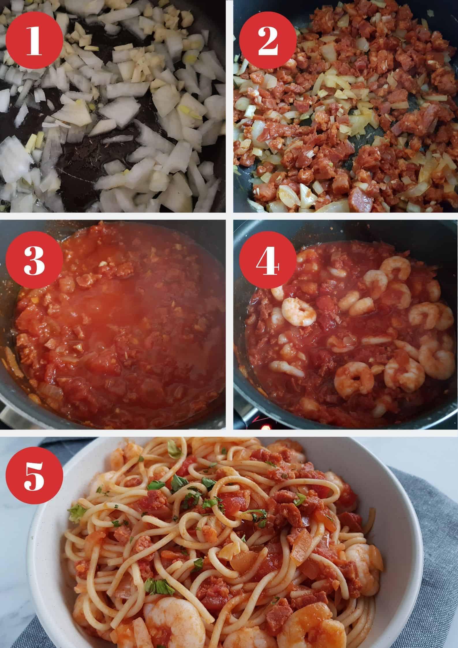 Infographic showing how to make prawn and chorizo pasta.