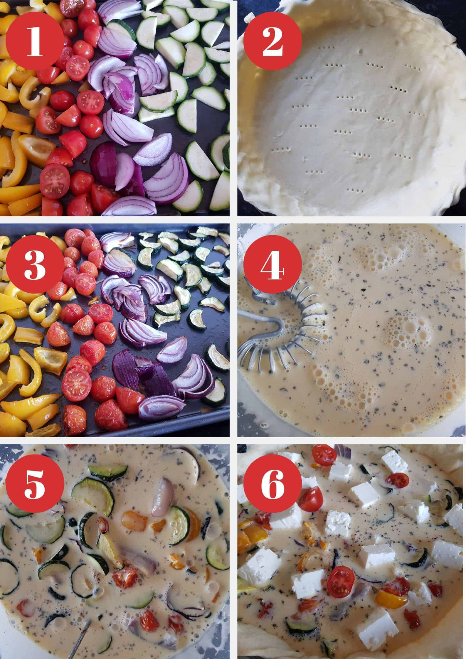 Infographic showing How to make roasted vegetable and feta quiche.