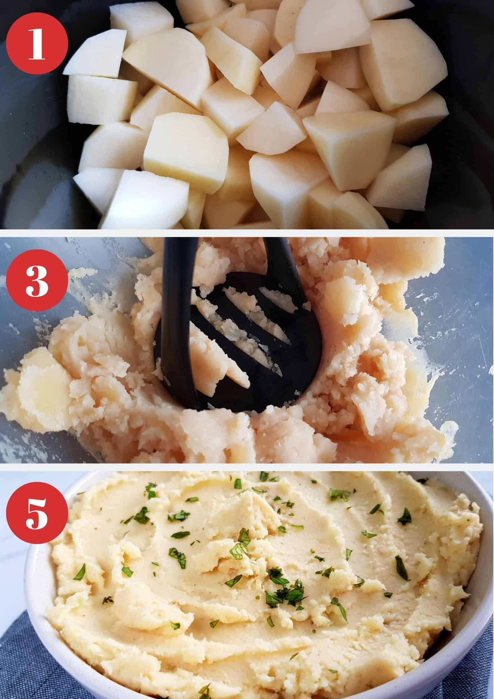 Infographic showing how to make slow cooker mashed potatoes.