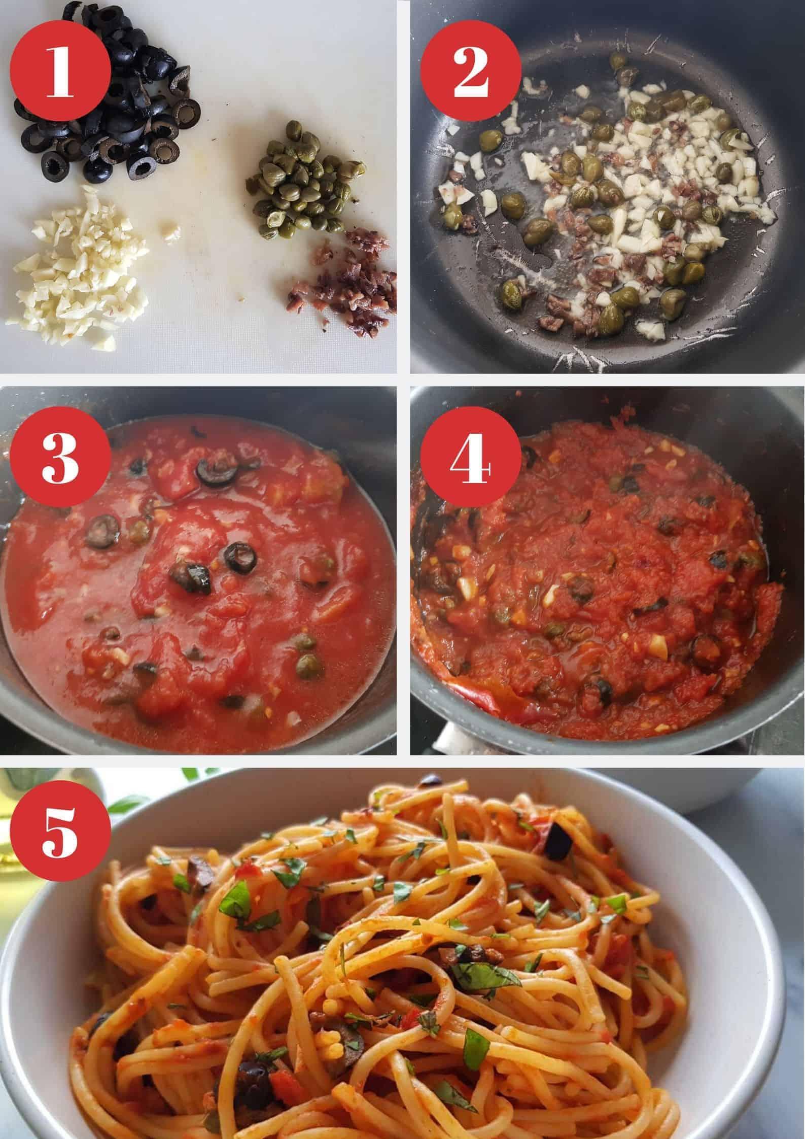 Infographic showing How to make spaghetti alla puttanesca.